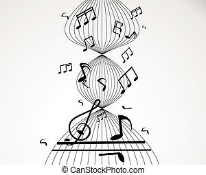 illustration., note, vettore, white., fondo, personale musicale