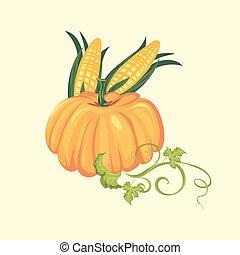 illustration, nourriture, maïs, épis, deux, feuilles, automne, légume, vecteur, arrière-plan vert, récolte, produits, jour, thanksgiving, citrouille