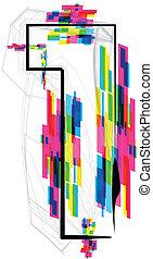 illustration., numero, illustrazione, vettore, font, 1.