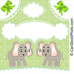 nursery card of the announcement with elephant
