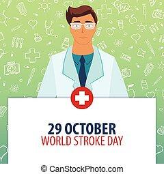 illustration., october., holiday., 29, day., coup, vecteur, médecine, mondiale, monde médical