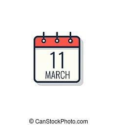 illustration., odizolowany, dzień, tło., wektor, biały, kalendarz, ikona