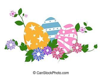 illustration., oeufs, isolé, fleurs, arrière-plan., vecteur, blanc vert, herbe, paques