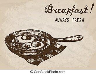 illustration., oeufs, main, vecteur, dessiné, brocoli, frit, pan.