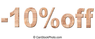 Illustration of 10 percent price cut off. Wooden parquet discount letters isolated on white background