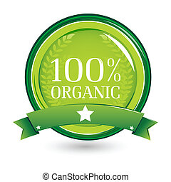 illustration of 100% organic on white background