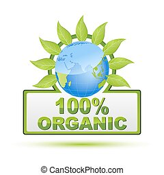 100% organic - illustration of 100% organic on white...