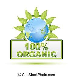 illustration of 100% organic on white background