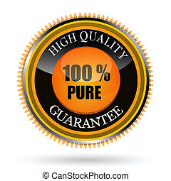 100% pure tag - illustration of 100% pure tag on white ...