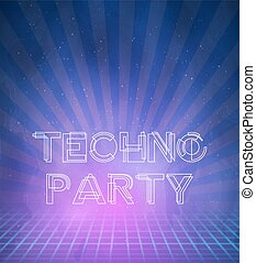 1980 Neon Techno Poster Retro Disco 80s Background made in Tron