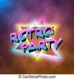 1980 Retro Party Neon Poster Retro Disco 80s Background made in