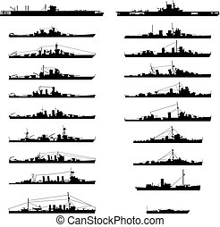warship - Illustration of 20 different warships in vector.