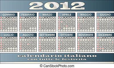 2012 calendar in italian