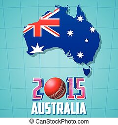 2015 Cricket with Australia map and flag