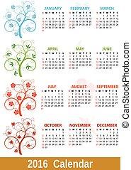 2016 seasons calendar