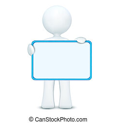 3d character holding blank board - illustration of 3d ...