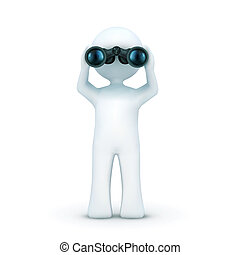 illustration of 3d character looking through binoculars on an isolated white background