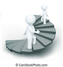 3d characters climbing steps of success - illustration of 3d...