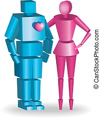 illustration of 3d couple in vector fully scalable hugging
