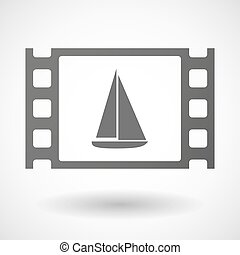 35mm film frame with a ship