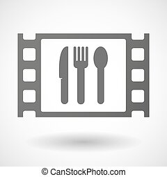 35mm film frame with cutlery