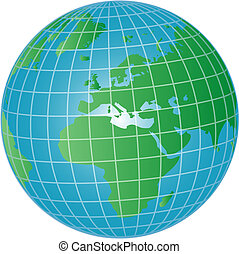 3d globe europe and africa