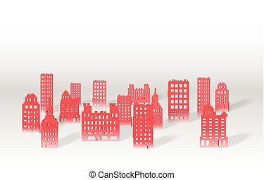 Illustration of a 3D paper city skyline