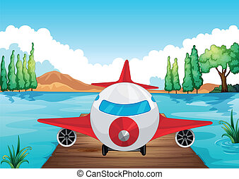 illustration of a air plane landing in nature