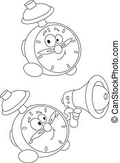 alarm clock outlined - illustration of a alarm clock ...