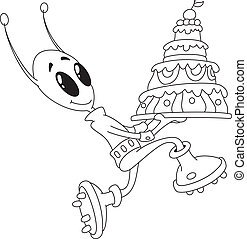 alien with cake outlined