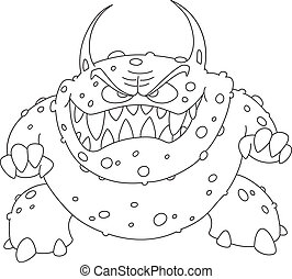 angry monster outlined