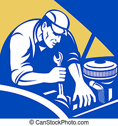 illustration of a Automobile car repair mechanic with spanner set inside a square format.