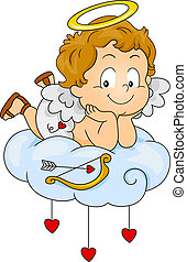 Illustration of a Baby Cupid Lying on a Cloud