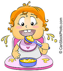 Baby Eating - Illustration of a Baby Eating Baby Food