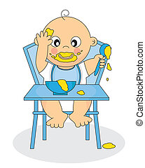 Baby Eating - Illustration of a Baby Eating Baby Food -...