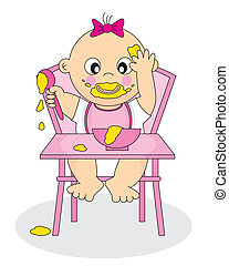 Illustration of a Baby Eating Baby Food - Vector