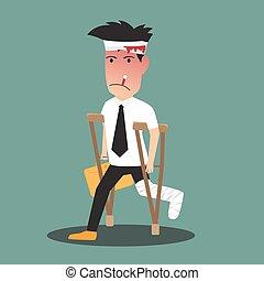 illustration of a badly injured businessman walking on...