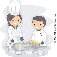 Baking Teacher - Illustration of a Baking Teacher at Work