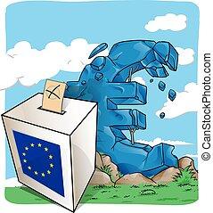 illustration of a ballot box on  euro symbol background