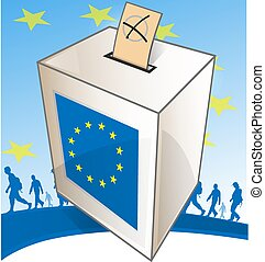 illustration of a ballot box with people walk