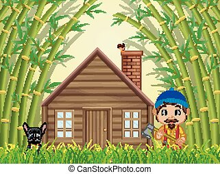a bamboo forest with a happy lumberjack and dog