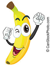 banana - illustration of a banana on a white background
