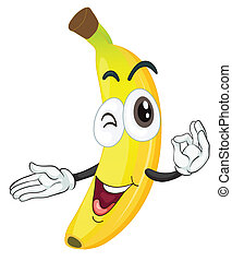 banana - illustration of a banana on a white background