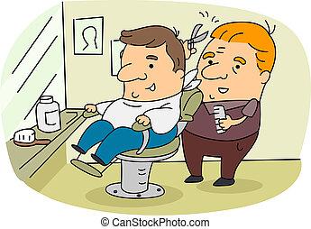 Illustration of a Barber at Work