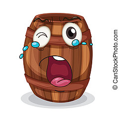 a barrel with face - illustration of a barrel with face on a...