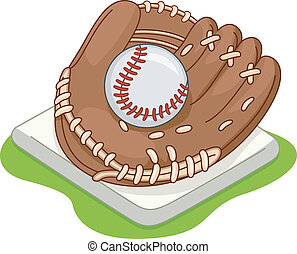 Baseball Glove - Illustration of a Baseball Glove Lying on a...