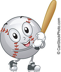 Baseball Mascot - Illustration of a Baseball Mascot Holding...