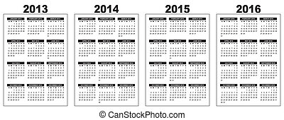calendar 2013-2014-2015-2016 - illustration of a basic...