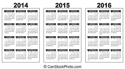 calendar 2014-2015-2016 - illustration of a basic overview ...