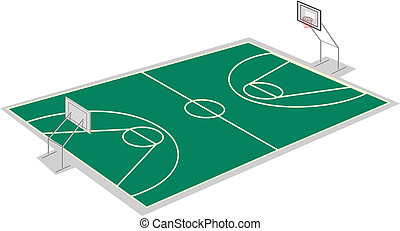 basketball court - illustration of a basketball court on a...
